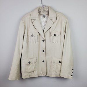 Vintage Chico's Cream Button Moto Leather Jacket